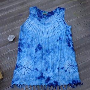 XXL Tie Dye Cover up Tunic Tank Dress